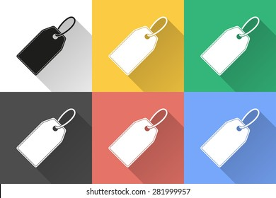 Price tag icon with long shadow, flat design. Vector illustration.