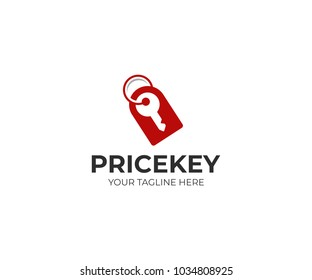 Price tag and key logo template. Price label and house key vector design. Key shop illustration