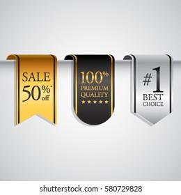 Price Tag or  Label premium gold black silver