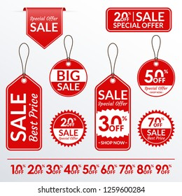 Price tag set. Sale and discount labels collection. Price off stickers. Vector illustration.