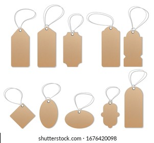 Price tags, empty labels, sale tags and labels. Empty style stickers. Brown paper and brown kraft realistic material.  Realistic mocap, detailed thread, cardboard texture.