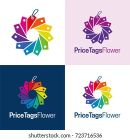 Price Tags Flower Icon and Logo - Vector Illustration
