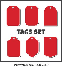 Price tags and gift cards. Vector tags sale set