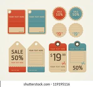 Price tags retro color design, vector illustration.