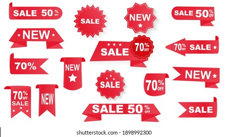 Price tags vector collection, isolated on white background