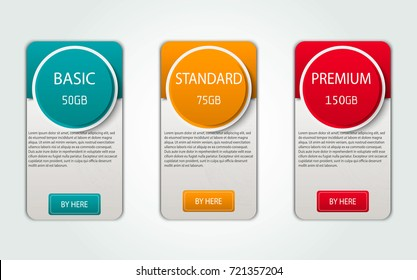 Pricelist, hosting plans and web design boxes of banners. Three banners for tariffs and price lists. Web elements. Plan the hosting. design for a web application.