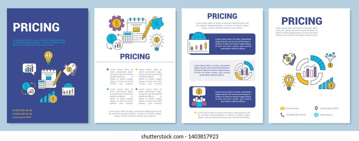 Pricing brochure template layout. Required payment. Flyer, booklet, leaflet print design with linear illustrations. Market sale. Vector page layouts for magazines, annual reports, advertising posters