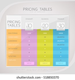 pricing comparison plan set commercial business stock vector
