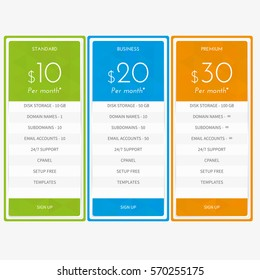 pricing table template vector stock vector royalty free 295947908