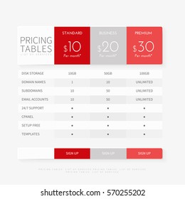 Pricing plan comparison set for commercial business web services and applications. Pricing tables chart interface for website, banners, hosting, ui, ux, mobile app. Vector illustration template.