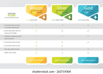 Pricing plans, boxes, table for websites and applications. Hosting banner. Vector illustration
