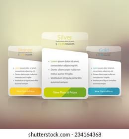 Pricing plans for websites and applications. Hosting banner. Vector illustration