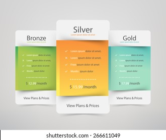 Pricing plans for websites and applications. Hosting table banner. Vector illustration