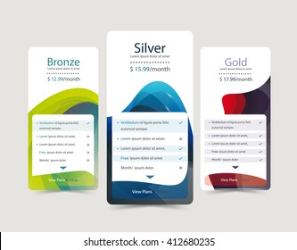 Pricing plans for websites and applications. Hosting table banner. Vector illustration.