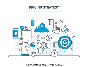 Pricing strategy, time management, marketing, planning, research, protection of payment, deposits, financial growth. Illustration thin line design of vector doodles, infographics elements.