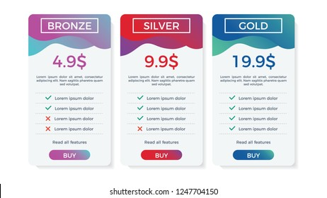 pricing table, list, plan or comparison template vector with buy button. business presentation, infographic, website element, hosting plan bronze, silver, gold.