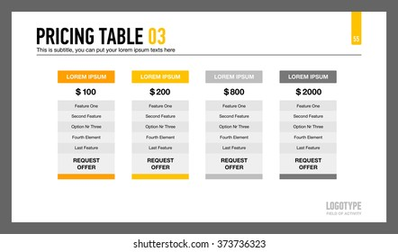 Pricing Table Slide Template