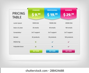 Pricing table template for business plan. Comparison chart. Vector EPS10 illustration.