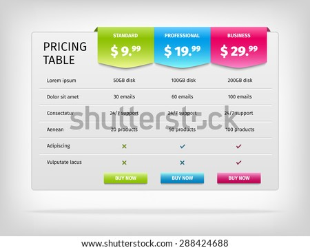 pricing table template business plan comparison のベクター画像素材