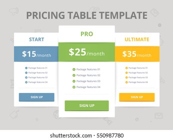Pricing Table Template with three plan type - Start, Pro and Ultimate graphic design on gray background