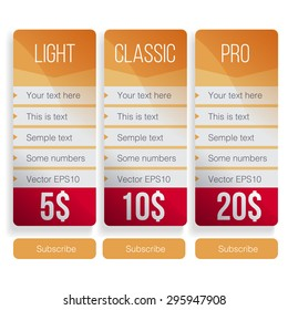 Pricing table template in vector