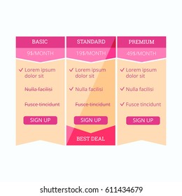 Pricing table template for web design EPS10