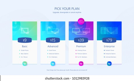 Pricing table UI design