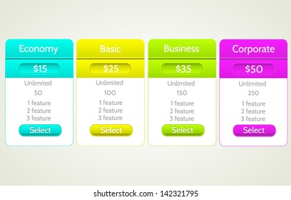 Pricing table. Vector