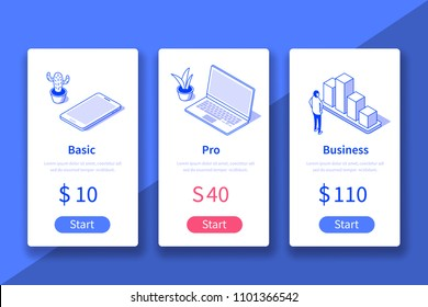 Pricing table website or mobile application template. Can use for web banner, infographics, hero images. Flat isometric vector illustration.