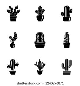Prickly pear cactus icons set. Simple set of 9 prickly pear cactus vector icons for web isolated on white background