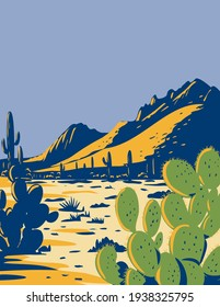 Prickly Pear Cactus or Opuntia Growing in Ironwood Forest National Monument Located in the Sonoran Desert of Arizona WPA Poster Art