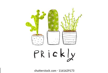 Prickly Spiky Cactus Set. Cactus succulent collection design with lettering.