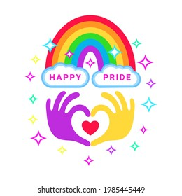 Pride congratulation card. Color rainbow with clouds and sparkles and heart shape made with hands. Vector isolated on white.
