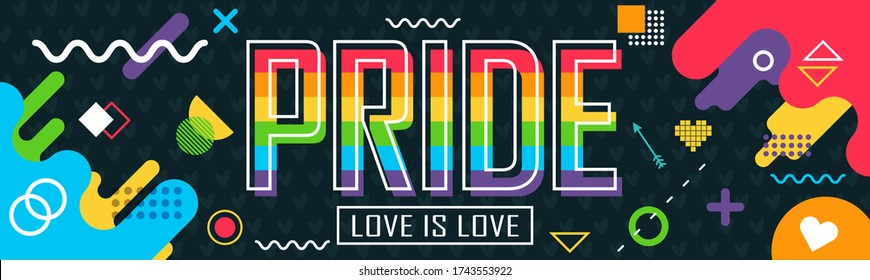 Pride day banner with modern retro abstract background design. Colorful Rainbow LGBT rights campaign. Happy Pride day. Love is love. Lesbians, gays, bisexuals, transgenders, queer.