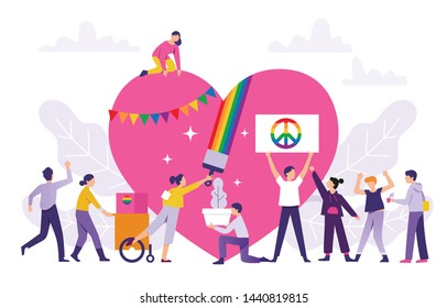 Pride Festival concept, the group of people prepares a pride festival event together, the Pride Festival celebration with a huge love to be together