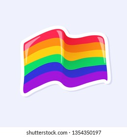 Pride Flag. LGBTQ+ related symbol in rainbow colors. Gay Pride. Raibow Community Pride Month. Love, Freedom, Support, Peace Symbol. Flat Vector Design Isolated on White Background
