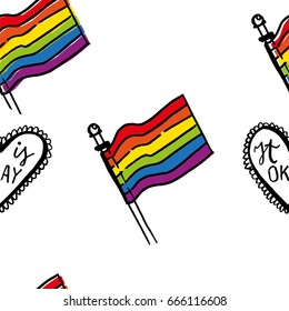 Pride flag seamless colorful pattern