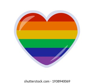Pride Heart Sticker. LGBT Pride Month in June. Lesbians, gays, bisexuals, transgender people. LGBT flag. Human rights and tolerance. Poster, postcard, banner and background. Vector stock illustration