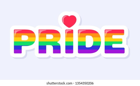 Pride Icon. LGBTQ+ related symbol in rainbow colors. Gay Pride. Raibow Community Pride Month. Love, Freedom, Support, Peace Symbol. Flat Vector Design Isolated on White Background
