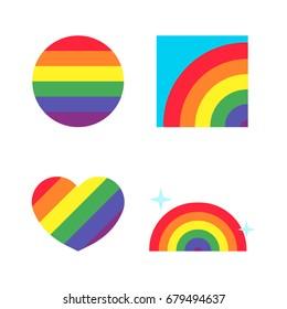 Pride icons set, Rainbow vector illustration
