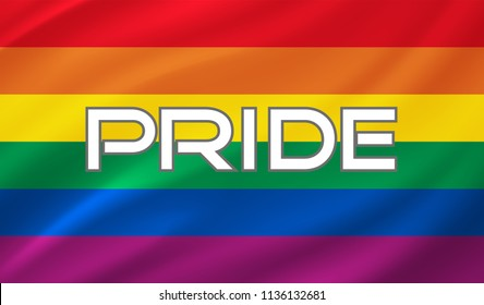 Pride lettering on a  rainbow spectrum flag, homosexuality emblem isolated on white. LGBT rights concept. Modern parades poster, placard.
