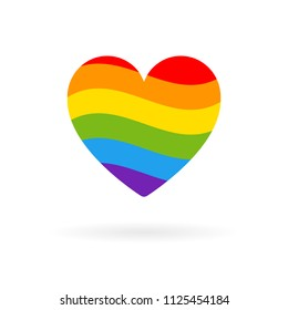 Pride LGBT heart icon, Lesbian gay bisexual transgender concept love symbol. Wave flag Color rainbow vector flat design signs. Colored stripes.