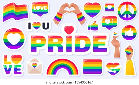 Pride LGBTQ+ icon set, LGBTQ+ related symbols set in rainbow colors: Pride Flag, Heart, Peace, Rainbow, Love, Support, Freedom Symbols. Gay Pride Month. Flat design signs isolated on white background