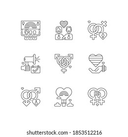 Pride life linear icons set. Gay and lesbian lifestyle signs. Bisexual culture. Rainbow flag. Customizable thin line contour symbols. Isolated vector outline illustrations. Editable stroke