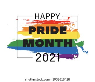 Pride month 2021 logo card with flag.Banner Love is love.Rainbow Pride symbol with heart,LGBT,sexual minorities,gays and lesbians.Designer sign,logo,icon:colorful rainbow on a white background.Vector