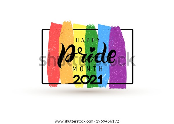 Pride month 2021 logo with rainbow flag. Pride symbol with heart, LGBT, sexual minorities, gays and lesbians. Banner Love is love. Template designer sign, icon colorful brush strockes rainbow.