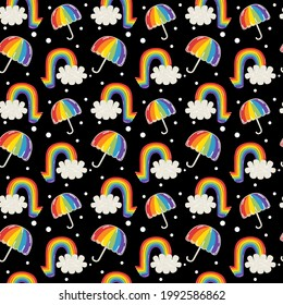 Pride month celebration seamless pattern, black wallpaper, rainbow, cloud and umbrella with pride color, red, orange, yellow, green, blue and violet