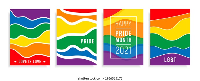 Pride month logo card with flag background.Banner Love is love.Rainbow Pride symbol,LGBT,sexual minorities,gays and lesbians.Designer sign,logo,icon:colorful rainbow on a white background.Vector