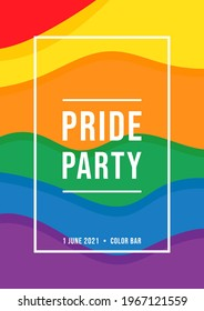 Pride month party invitation card with flag background Rainbow banner flyer.Pride symbol,LGBT,sexual minorities,gays and lesbians.Designer sign,logo,icon:colorful rainbow on a white background.Vector