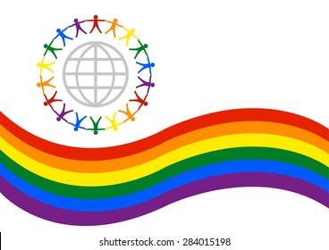 Pride Parade Banner or Logo Design. Gay and Lesbians united Internationally. Editable Clip Art Illustration.
